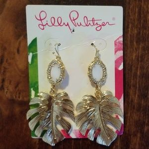 Gold Lilly Pulitzer Palm Earrings